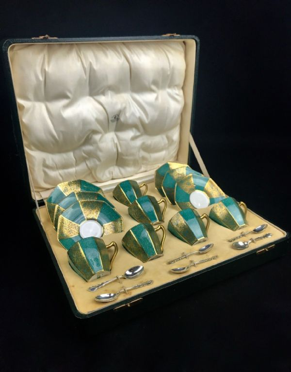 George V Royal Doulton Coffee Set With Sterling Silver Mappin & Webb Spoons